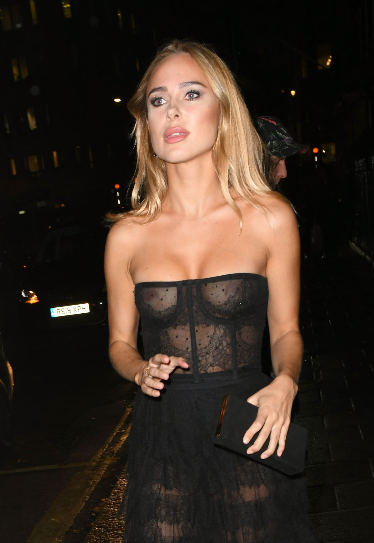 Kimberley Garner (BRALESS) sheer dress